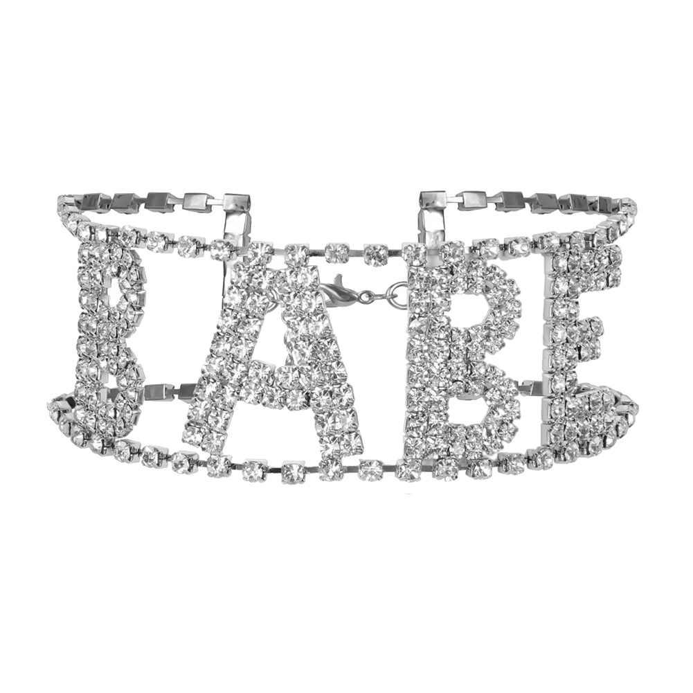 Moda de luxo feminino colares bebê carta cristal strass incrustada gargantilha colar