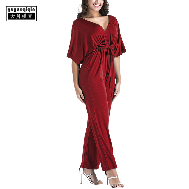 Women Jumpsuit 2018 Womens Romper Sexy Deep V-neck Sexy Elastic Waist jumpsuit Plus Size Jumpsuits 3XL ...