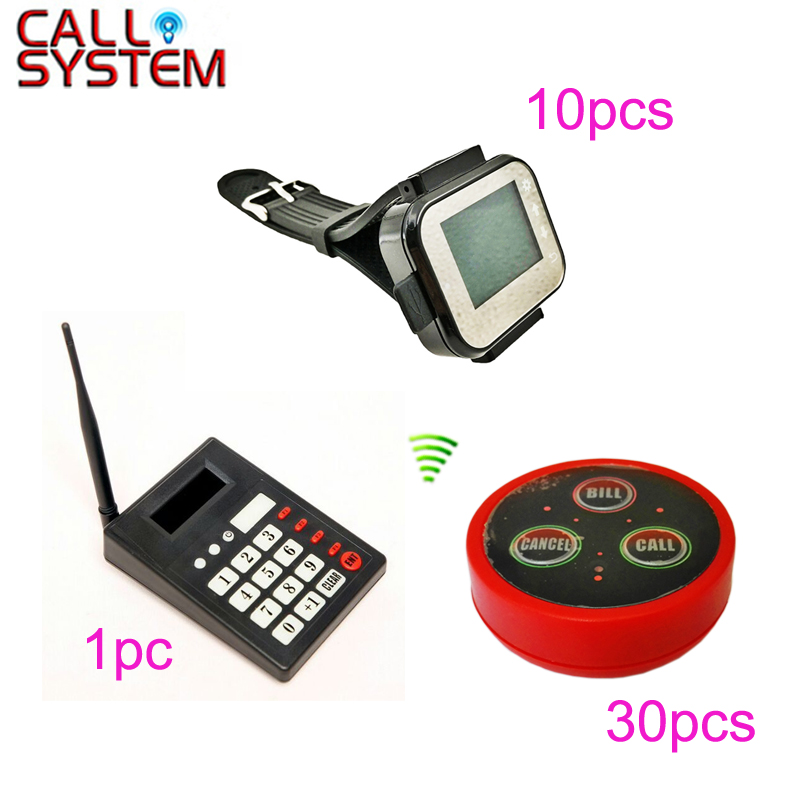 1 Kitchen Transmitter 10 Waiter Pager 30 Table Bell Wireless Restaurant Call Paging System ...