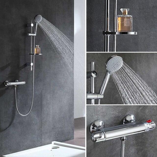 Micoe Thermostat Badewanne Wasserhahn Bad Messing Dusche Set 150mm In-wand Halterung Hot & Cold Wasser Temperatur Kurze mixer