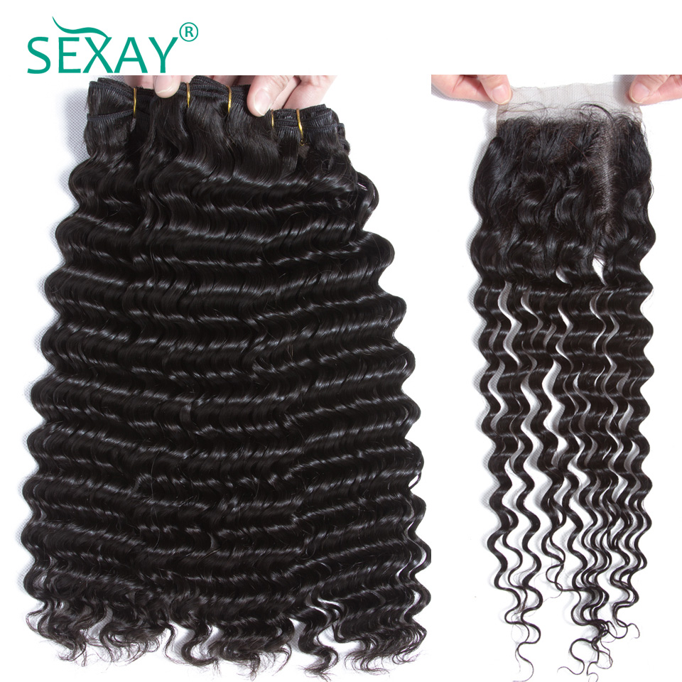 Sexay deep wave bundles with closure Brazilian remy human hair 3 bundles with 4x4 lace closure pre plucked with natural hairline image