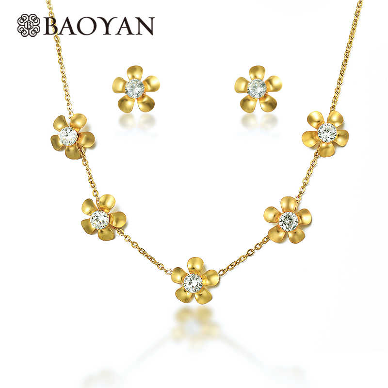 Baoyan Elegant Crystal Jewelry Set Gold Color Flower Sunflower Necklace Set Women Stainless Steel Sets For Women