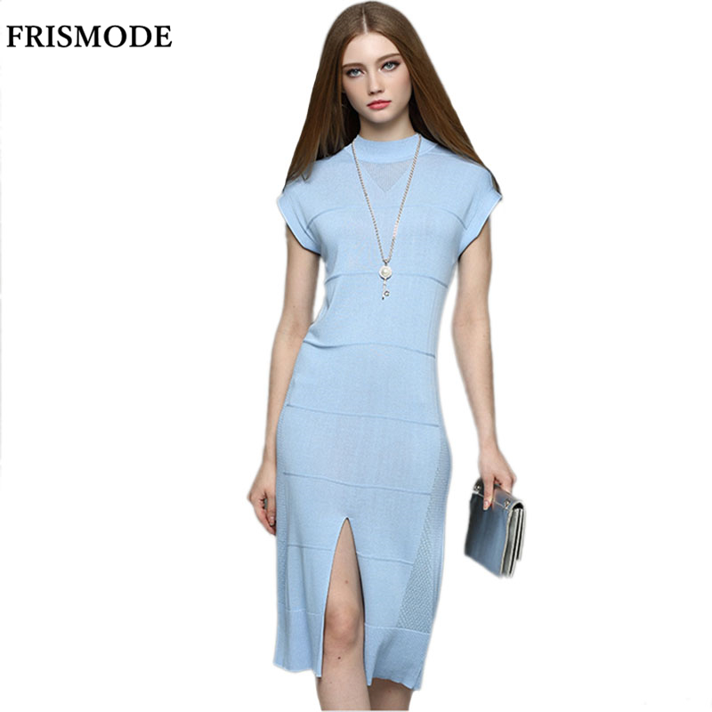 Midi Length Split Slim Fit Thin Knitted Dress Party ...