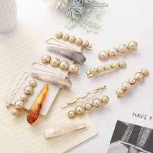 1 Set Korea Pearl Hairpins Irregular Metal Gold Silver Bowknot Acrylic Hair Clips Barrettes for Women Girls Hair Accessories(China)
