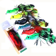 1pc Frog Lure Fishing Bait Topwater lures fishing tackle For Pike with Feather Tail Winter Fly High Quality