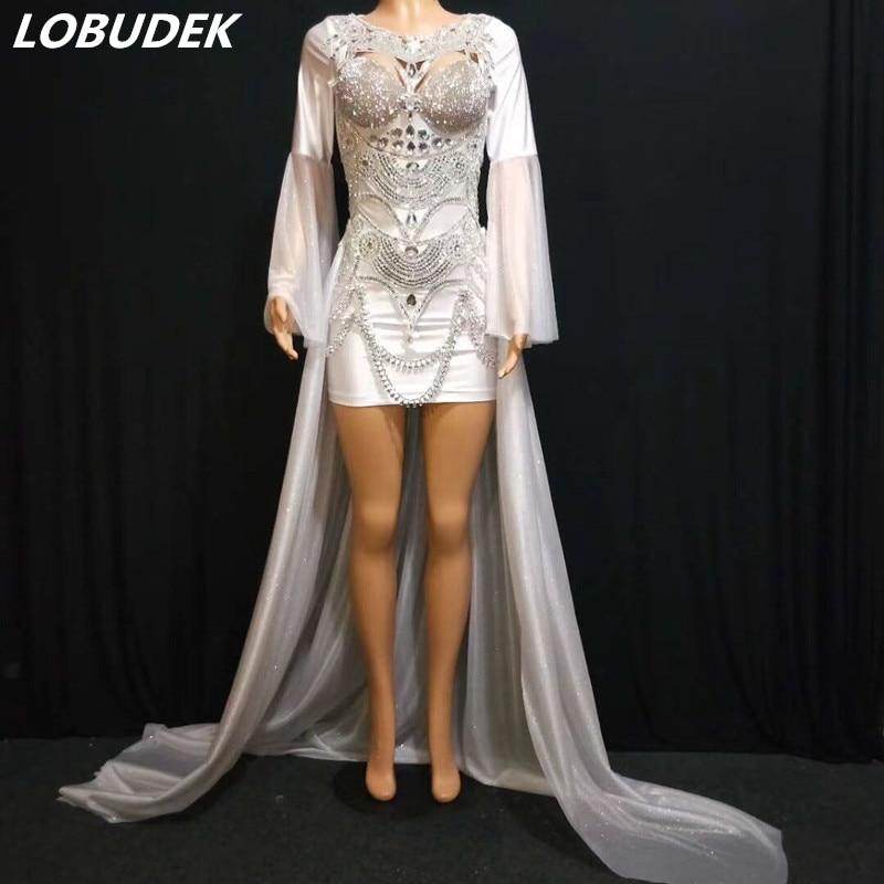 Silver Rhinestones Flare Sleeve Short Dress White Trailing Fashion Lady Singer Host Nightclub Costume Concert Performance