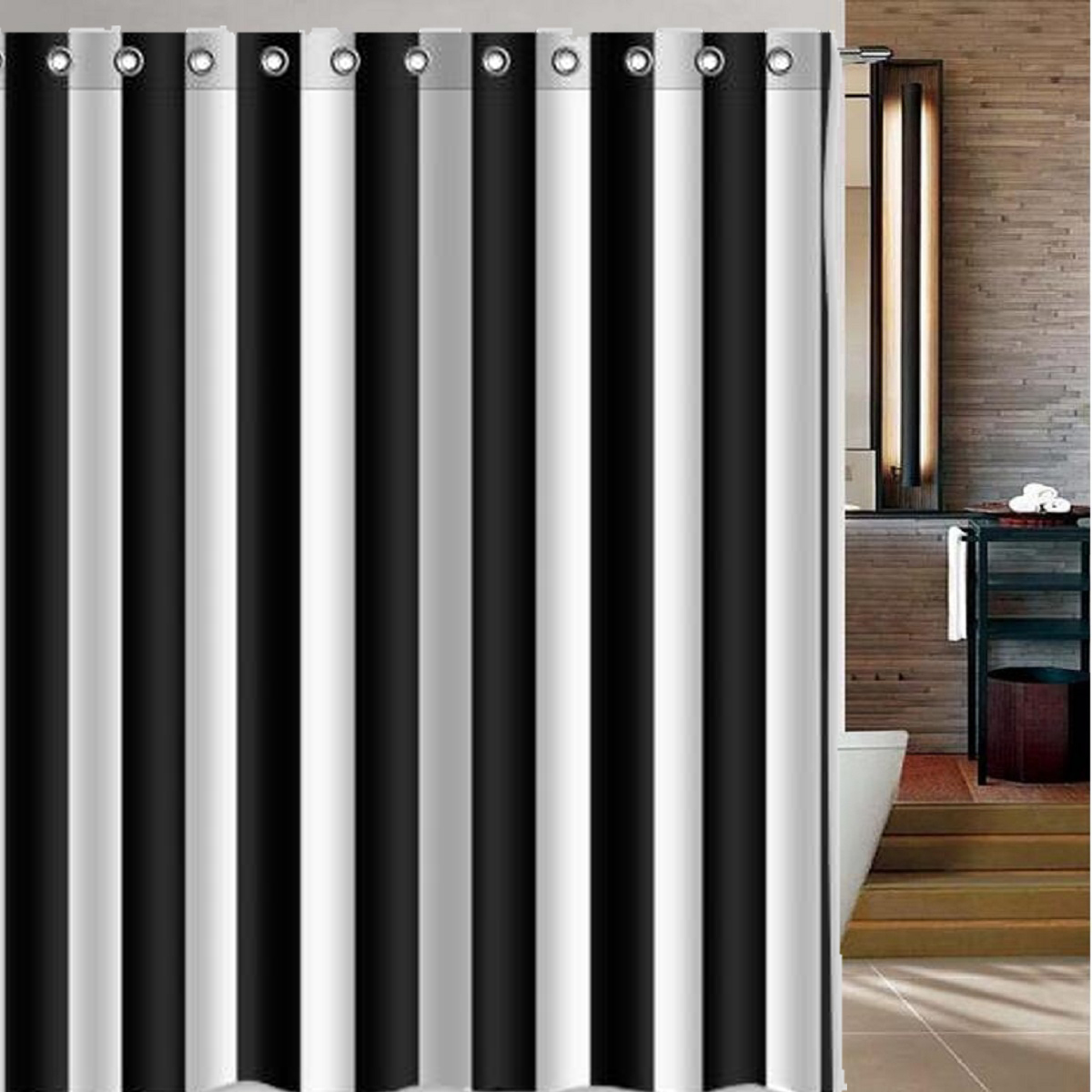 Us 11 3 43 Off Modern Waterproof Shower Curtains Black White Striped Printed Simple Style For Polyester Bathroom Home Hotel Curtain With Hooks In