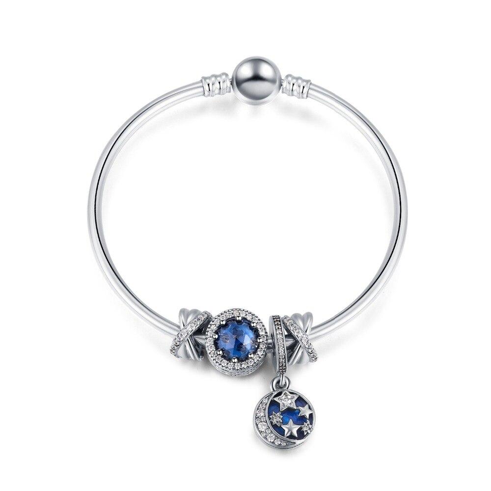 2019 nouvelle série étoilée conte de fées bleu cristal Bracelet pour les femmes argent cristal bijoux cadeaux spéciaux pour mariage