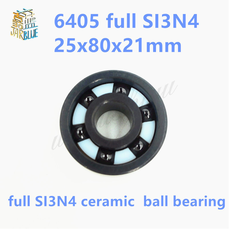Free shipping high quality 6405 full SI3N4 ceramic deep groove ball bearing 25x80x21mm цена 2017