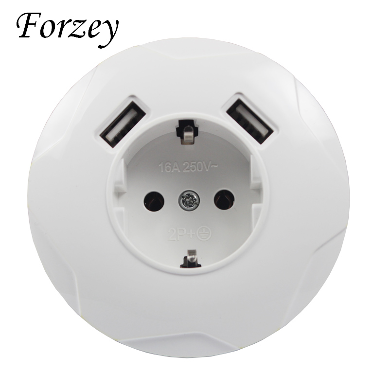 Round newUSB Wall Socket Free shipping Double USB Port 5V 2A Usb enchufes para pared prise high quality usb murale steckdose F03