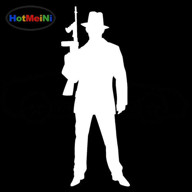HotMeiNi Funny Gangster Tommy Gun Car Sticker Window Bumper Door Kayak Car  Covers Family car decoration