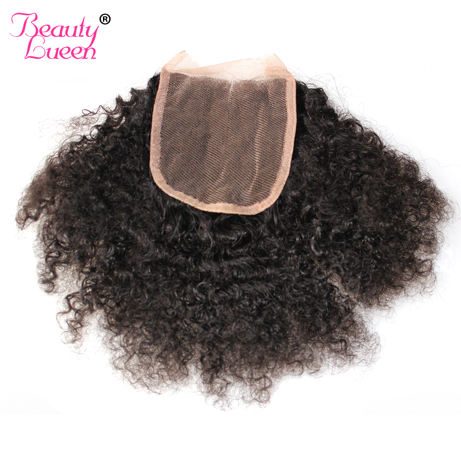 Mongolian Afro Kinky Curly Lace Closure 4x4 Free Part 100 Human Hair Remy Hair Natural Black