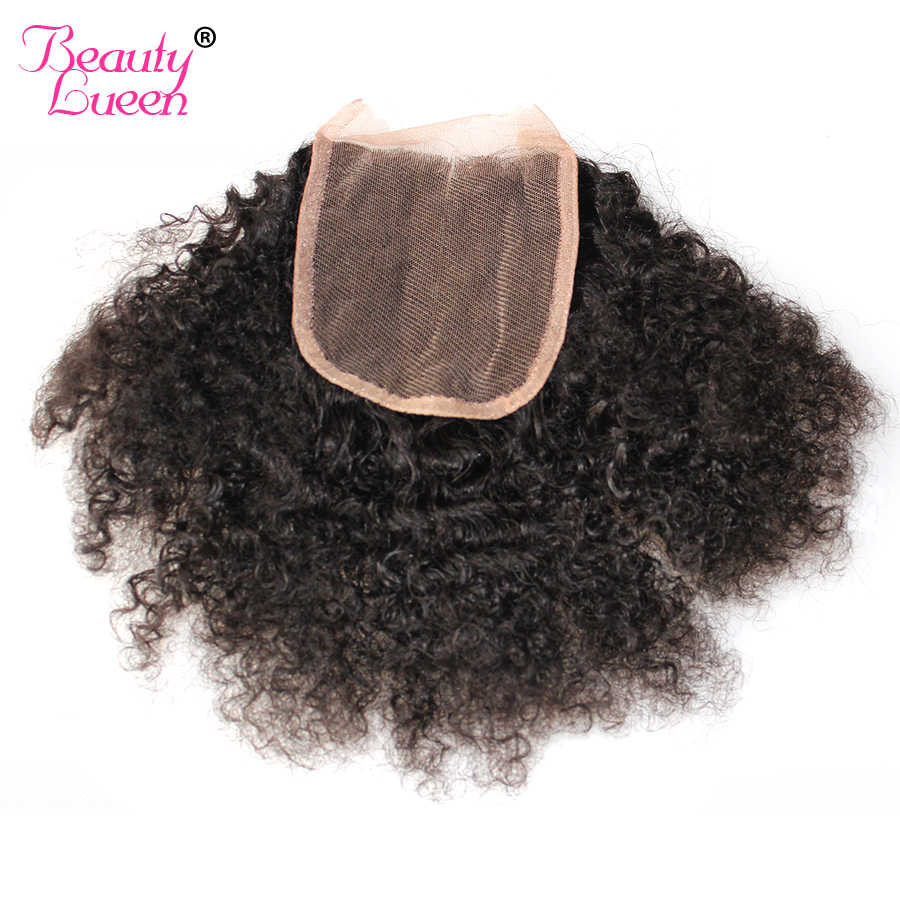 Mongolian Afro Kinky Curly Lace Closure 4x4 Free Part 100% Human Hair Remy Hair Natural Black Color Beauty Lueen