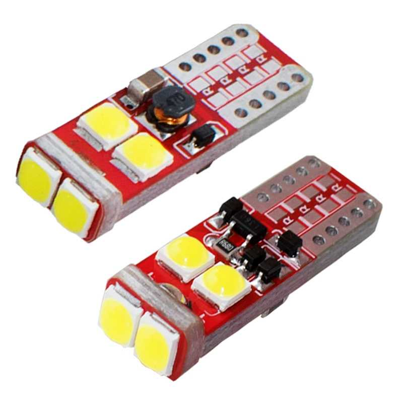 2PCS T10 W5W 1000LM Super Bright 6 SMD XBD Chips LED Car Parking Lights Source Auto Reading Dome Lamps Wedge Tail Side Bulb