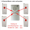 wireless calling system , alarm caller,4-channel music radio call system with 4 long distance remote controler