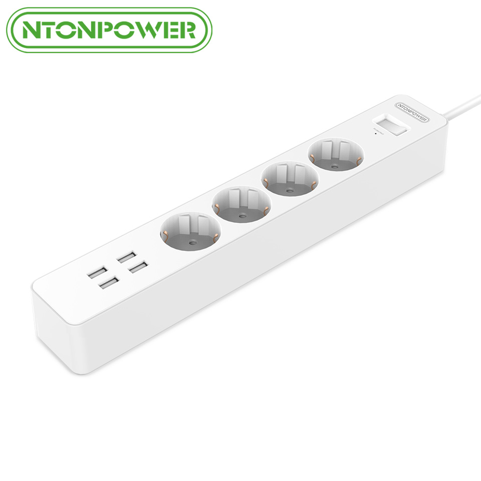 NTONPOWER NSC Smart USB Power Strip Socket EU Plug Overload Switch Surge Protector 4 Outlet 4 Port USB Charger - 1.8M Power Cord ntonpower hpc us plug usb power socket etl listed with overload switch surge protection 8ac outlet 5port 2 4a smart usb charger