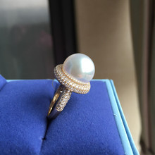 Eternal wedding Women Gift word 925 Sterling silver real Permanent natural gift pearl ring circle 13-14