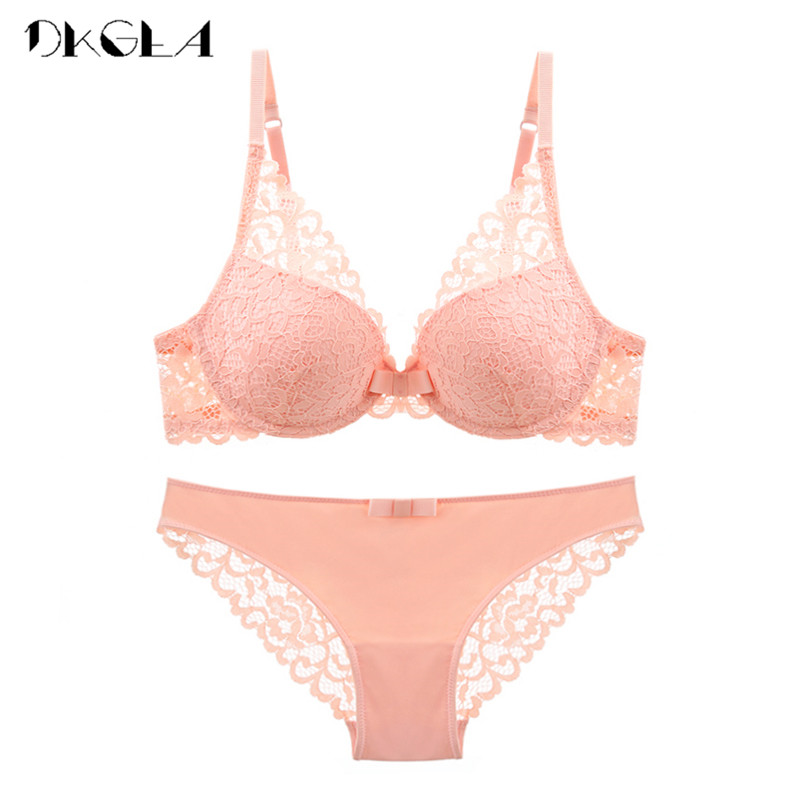 Pink Bra And Panties Sets Cotton BrassiereThick Deep V Push Up Bras Sexy Underwear Set Lace Embroidery Women Lingerie Set Black