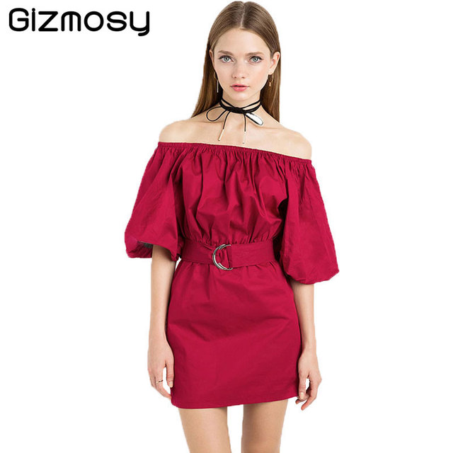 efd1f2da1b8 1 Pcs Off shoulder Summer Dress Women Sexy Solid Short Sleeve Dress Slim  Vintage Party Dresses Club Wear With Belt S81594