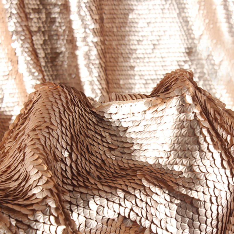 Encrypted Stereoscopic Metallic Fish Scale Stage Sequin Fabric Upscale Mesh Bead Embroidery Apparel Designer Fabric