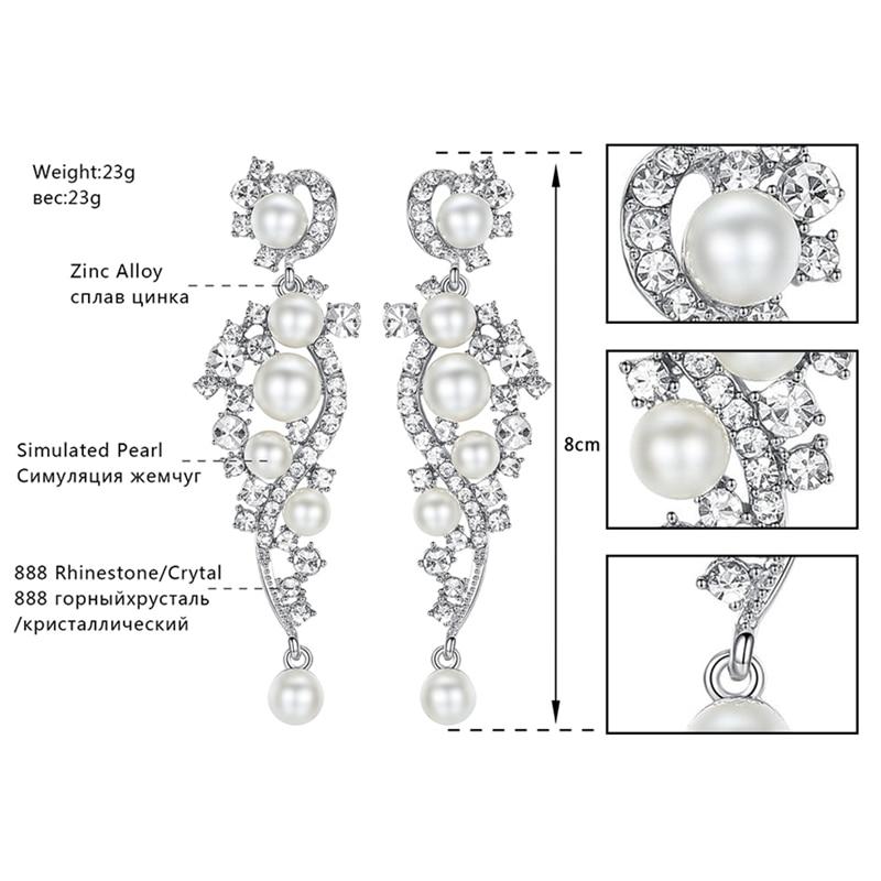 Minmin Simüle İnci Gelin Takı Setleri Gümüş Kristal Bilezik - Kostüm mücevherat - Fotoğraf 4