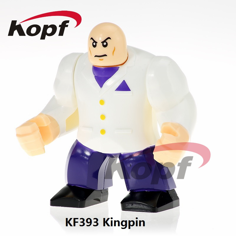 Single Sale Super Heroes 7CM Big Size Kingpin Amazing Spider-Man Bricks Education Building Blocks Children Gift Toys KF393 building blocks super heroes back to the future doc brown and marty mcfly with skateboard wolverine toys for children gift kf197