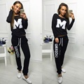 2017 Spring Autumn Women 2 Piece Set Print Women Sporting Suit Patchwork Crop Top And Elastic Legging Capris Casual Suit