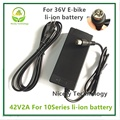 42V2A carregador 42 v 2A carregador para 36 V bateria de lítio bicicleta elétrica da bateria de lítio pacote RCA Plugue carregador 42V2A
