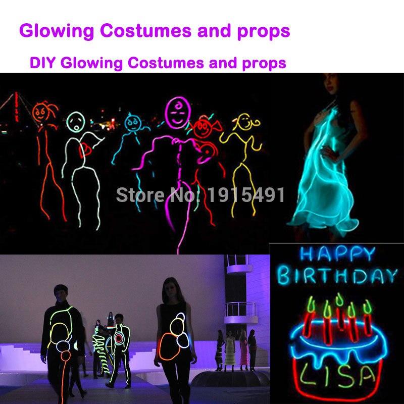 Стандартная упаковка красочные светодиодные лампы красивая рождественская одежда Хэллоуин Декор неоновый светодиодный Электрический провод для освещения Funky блестящий костюм - 6