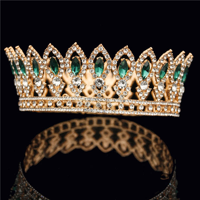 Fashion Round Diadem Bride Crown Wedding Tiaras Headdress Gold 3 Crystal Crowns for Queen King Wedding Hair Jewelry Accessories