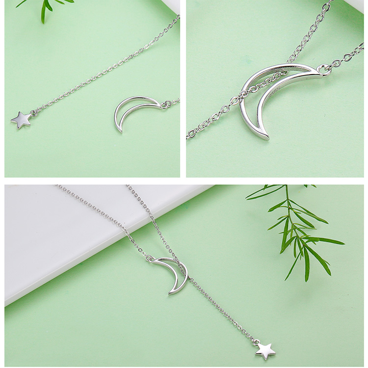 HTB1ughjnMoQMeJjy1Xaq6ASsFXaY BAMOER New Arrival Fashion 925 Sterling Silver Moon and Star Tales Chain Link Pendant Necklaces for Women Fine Jewelry SCN108