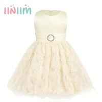 Szampana Sukienki Do Kolan Infantil Dziewczynek Rękawów Floral Bow Księżniczka 1st Birthday Party Dress Odzież Dla Dzieci Prezenty