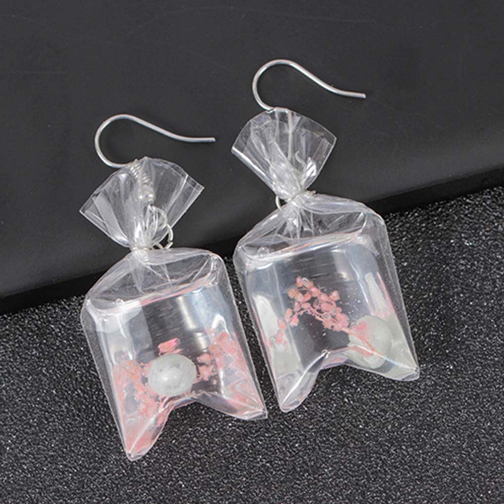 Creative Transparent Candy Marine Wind Conch Drop Earrings Female Personality Resin Dried Flower Plant Dangle Earrings Jewelry