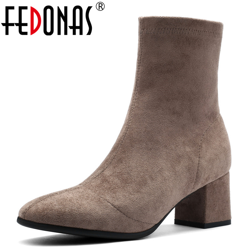 FEDONAS Fashion Brand Socks Boots High Heels Warm Autumn Winter High Martin Shoes Woman Round Toe New Mid-calf Boots For Women ombre circle calf length socks
