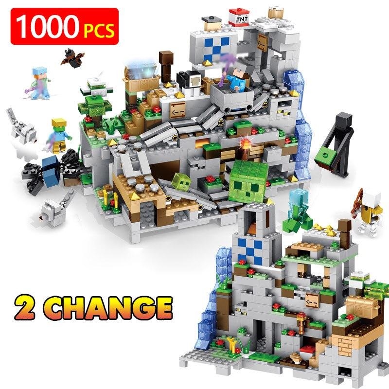 O meu Mundo Criador Técnica LegoINGLYS Minecrafted Caverna Pode ser Liftabled Fortaleza de Blocos de Construção Compatíveis Bricks Brinquedos Para Meninos