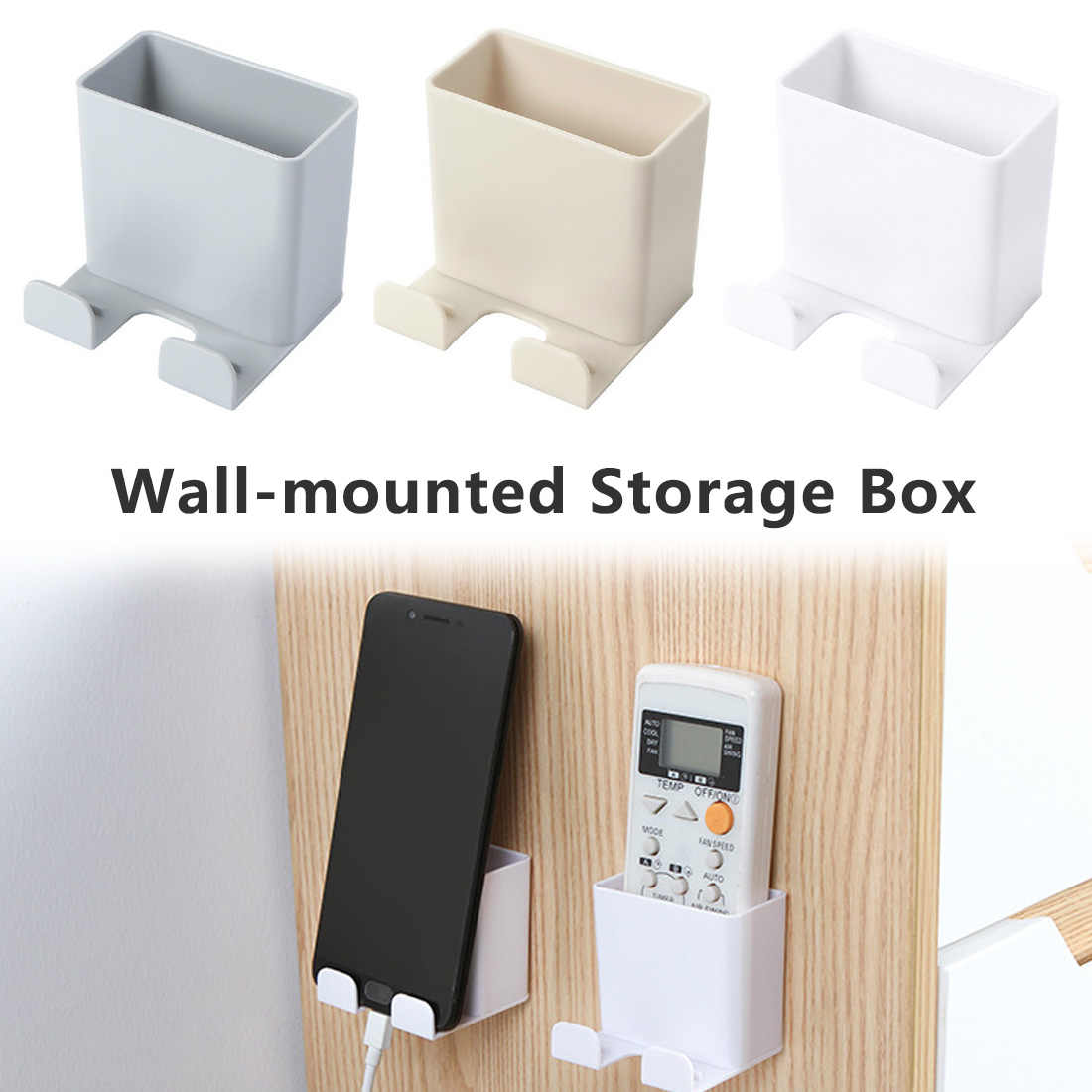 Phone Wall Holder Wall Mounted Storage Rack Smartphone Hanging Cellphone Tablet Charging Multifunction Remote Control Holder