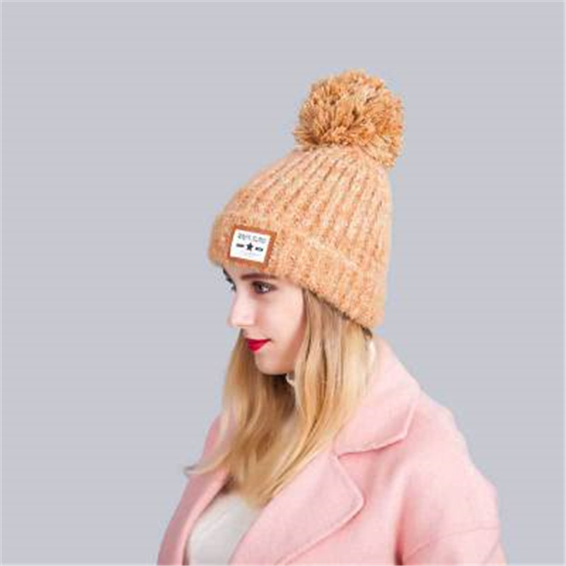 2016 autumn and winter wool hat knitted hat circle letter marked thick plush hot female head cap sleeve cap balaclava rwby letter hot sale wool beanie female winter hat men