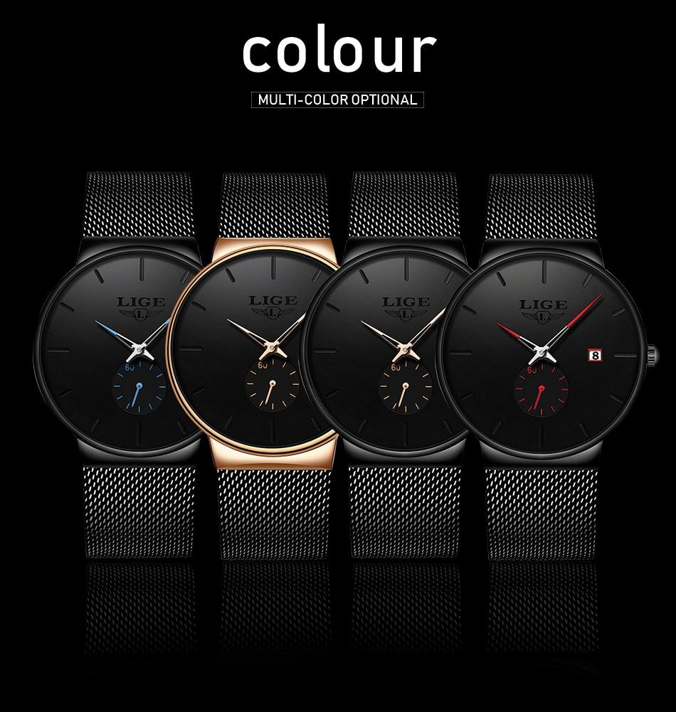 HTB1ugikXkT2gK0jSZPcq6AKkpXaU 2019 LIGE Mens Watches Top Brand Luxury Fashion Wrist Watch For Men Quartz Clock Clock Male Ultra-Thin Mesh Belt Waterproof+Box