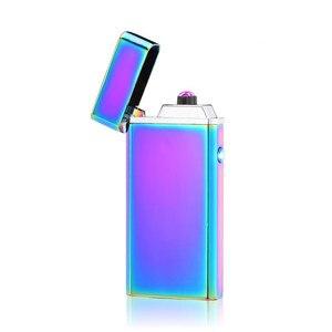 Image 5 - Dostosować USB elektryczny podwójny łuk zapalniczki akumulator wiatroszczelna latarka zapalniczka papieros podwójny grzmot Pulse Cross zapalniczki plazmowe