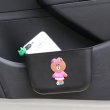 E-FOUR Door Storage Box Soft Plastic Garbage Can Phone Holder Elastic Cartoon Bears Fastener Barrel  or Bucket Car Doors