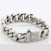 CUSTOMIZE SIZE 8 66 15mm Wide Silver Curb Cuban 316L Stainless Steel Bracelet Heavy Mens Boys