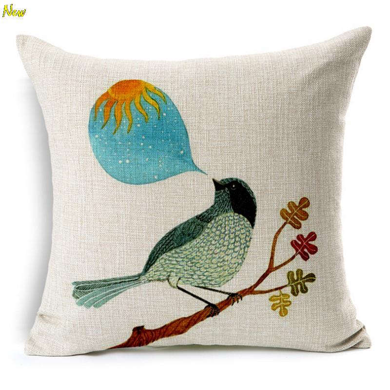 Flowers And Birds CartoonCushion Without Core Custom Cotton Linen Decorative Throw Pillows Sofa Chair Cushions Home Decor45*45cm