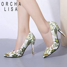 ORCHA LISA 10cm Sweet Embroider Women Pumps High Heels Pointed toe flower  Wedding shoes party ladies 55198ba768f9
