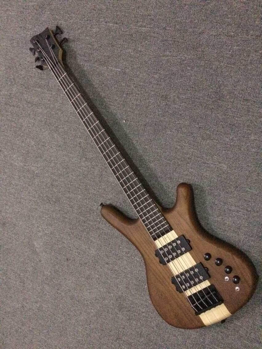 Новое прибытие 5 строка электрическая бас-гитара через шею электрический бас в естественный 150520