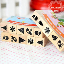 цена на 5PCS/LOT MERRY CHRISTMAS Wooden Decoration Stamp Rubber DIY Scrapbooking Vintage InkPad Stamp Set Christmas Decoration Set
