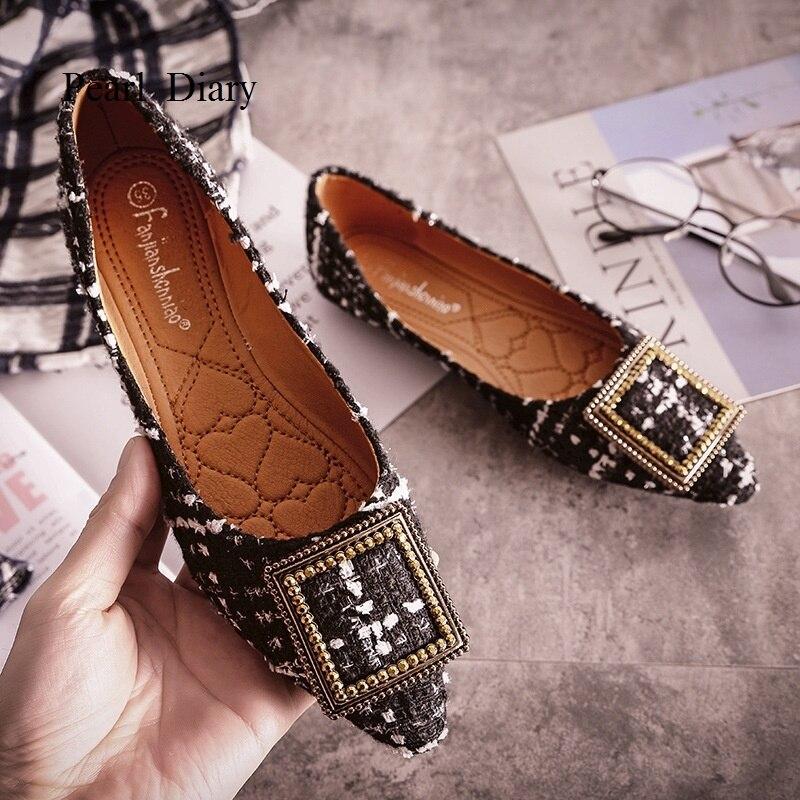 Mode Chaussures Coton Plates blanc Casual Géométrique Femmes Femme De Automne Femelle Mocassins Tissu Appartements Creepers 2018 Sur Noir Glissement Talons EW2IHYD9