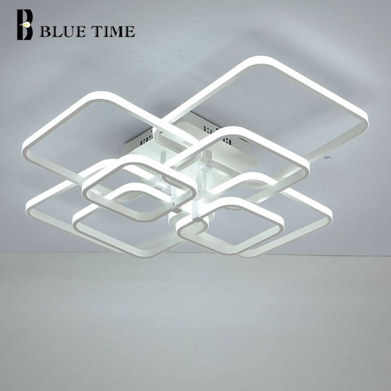 New Square Rings Frame Modern Led Ceiling Lights For Living Room Bedroom White Or Black Arms New Square Rings Frame Modern Led Ceiling Lights For Living Room Bedroom White Or Black Arms Ceiling Lighting Fixtures AC85-260V