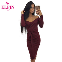 Off Shoulder Slash Neck Sexy Women Slim Bodycon Dress Fashion Long Sleeve Knee Length Party Dresses