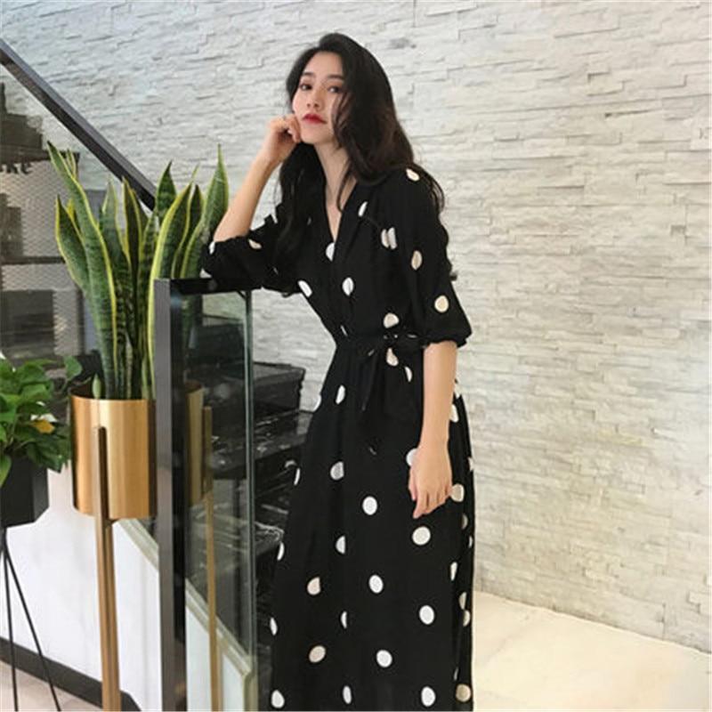 037cfe27bb4 X496 D été À Robe Français Vêtements Black Printemps Super Robes Noir  Nouveau Rétro Automne De Fée 2019 Femmes ...