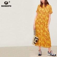 ROHOPO Short Sleeve Tunic Orange Pleated Maxi Midi Dress Peinted Tiny Floral Multiways Female Slim Body Vestido #OYK9640
